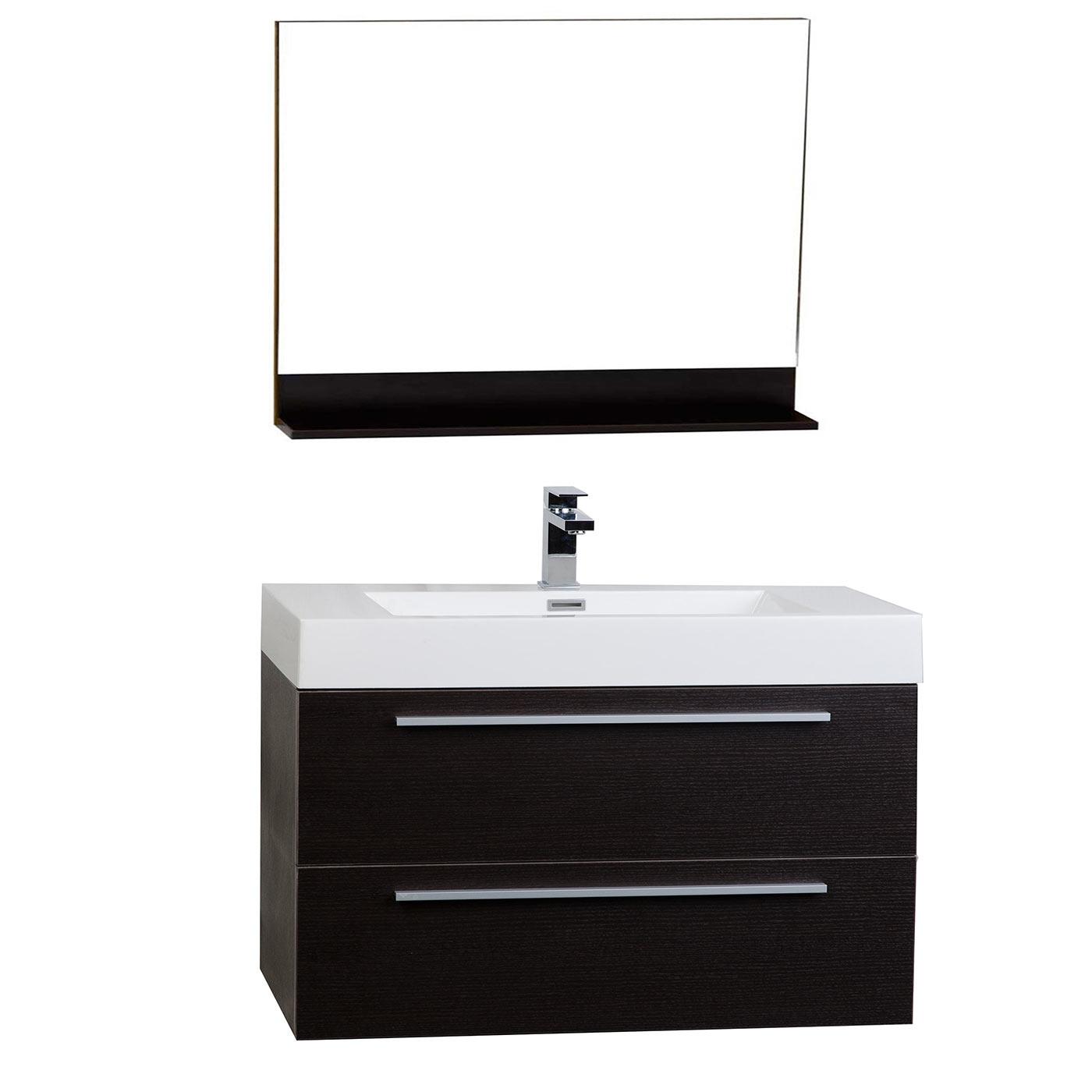355 Wall Mount Contemporary Bathroom Vanity Mirror Set Espresso TN M900 WG