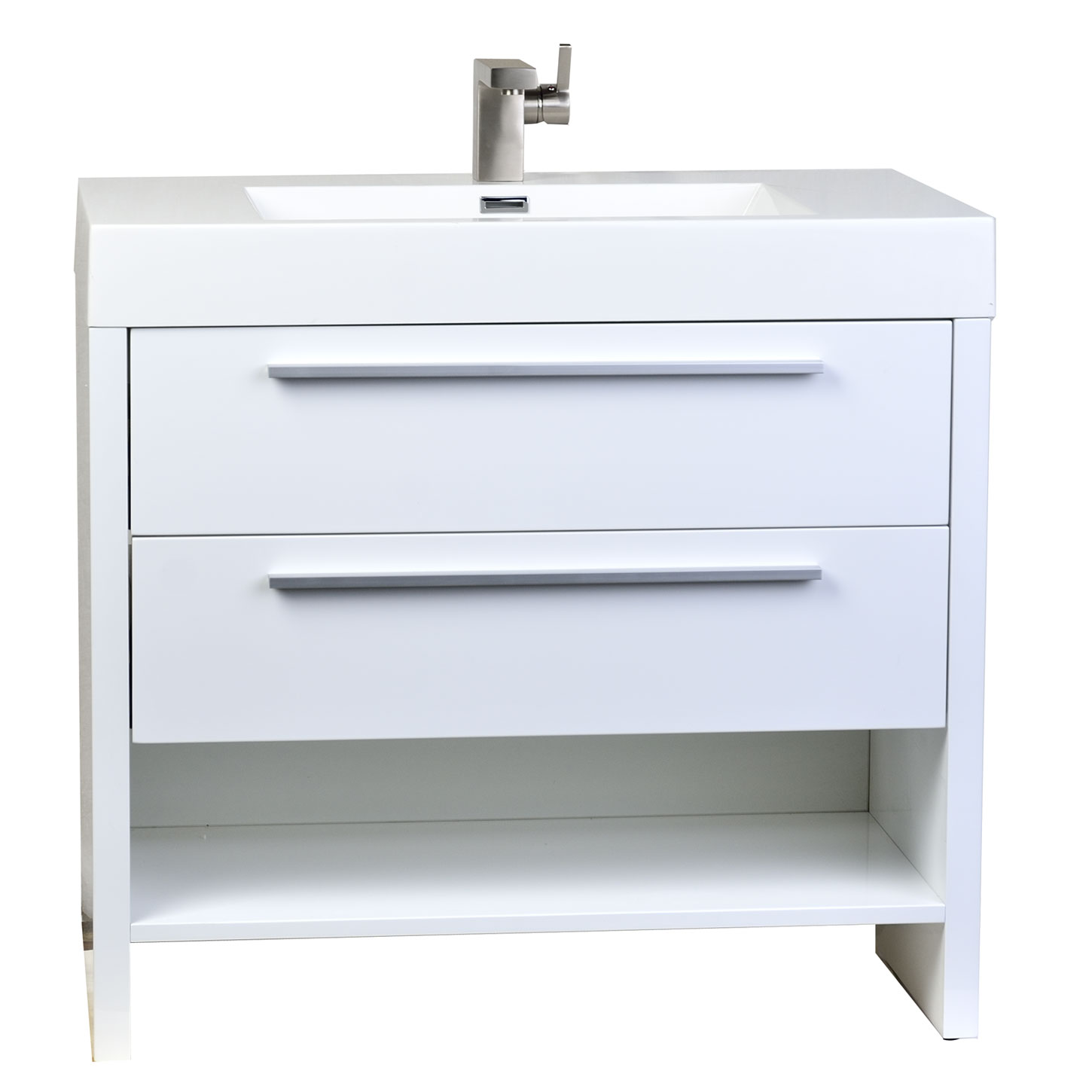 Buy mula 35 5 in modern bathroom vanity high gloss white for Bathroom vanities