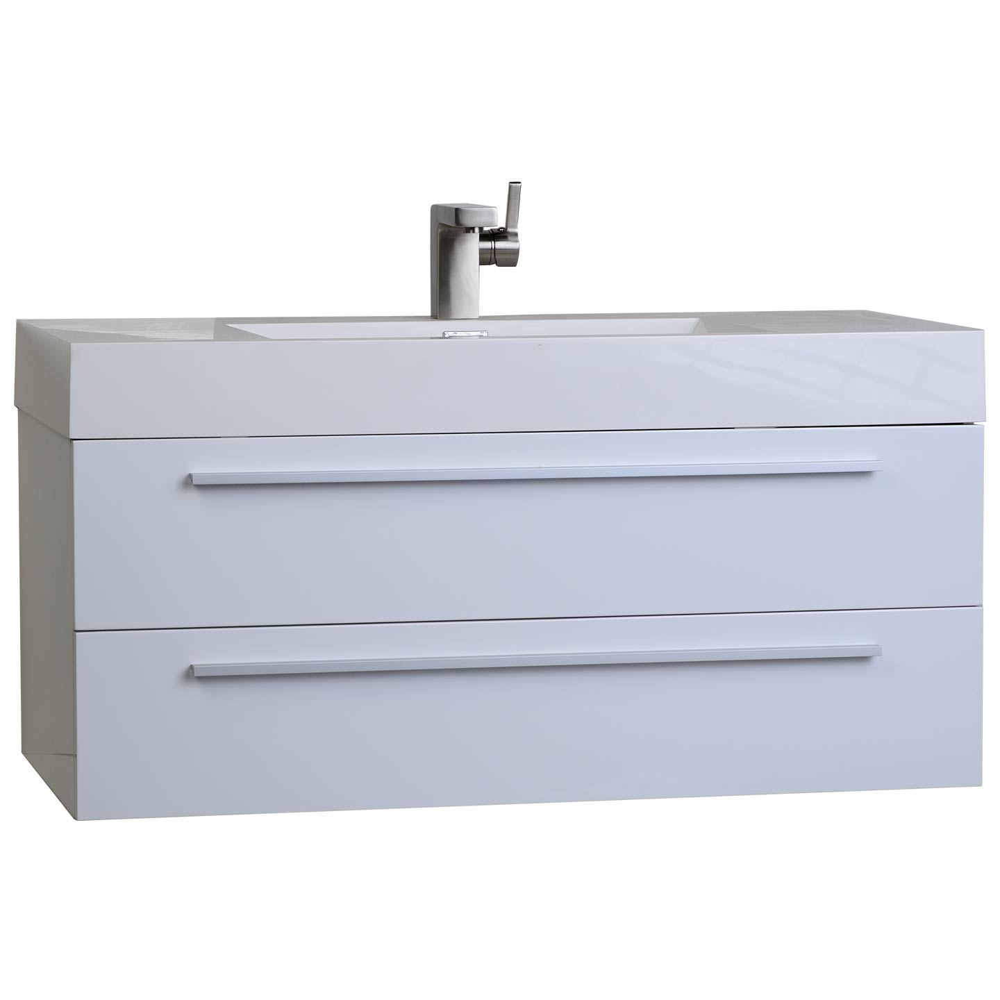 35 5 In Wall Mount Modern Bathroom Vanity in High Gloss White TN
