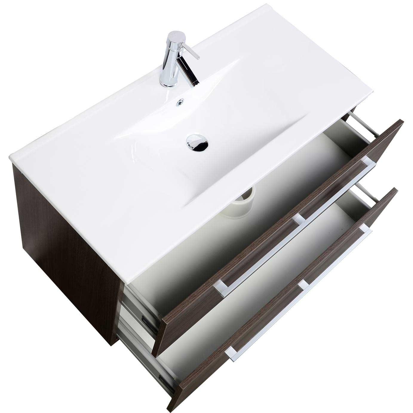 Modern Wall Mount Bathroom Vanity Cbi Grey Oak RS DM800 GO