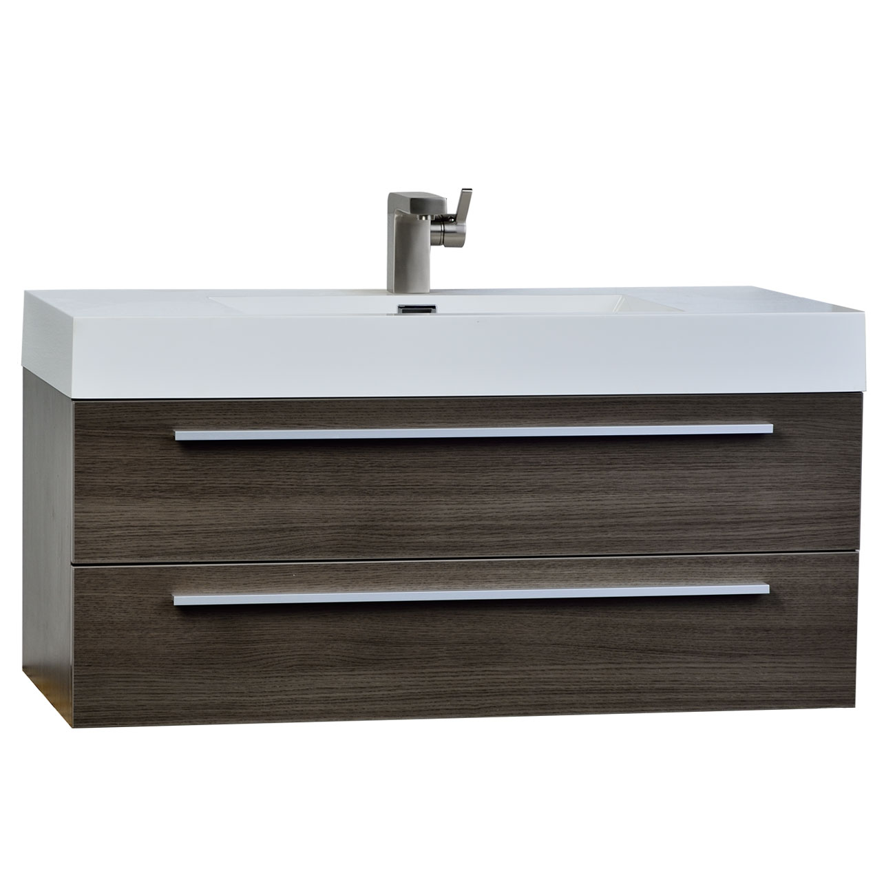 39 25 Inch Wall Mount Contemporary Bathroom Vanity Grey Oak TN T1000 GO