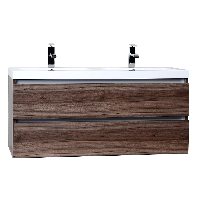 Double bathroom vanity - Valencia 47 Wall Mount Double Bathroom Vanity Set Walnut Optional Mirror Rs Dg1200 Wn