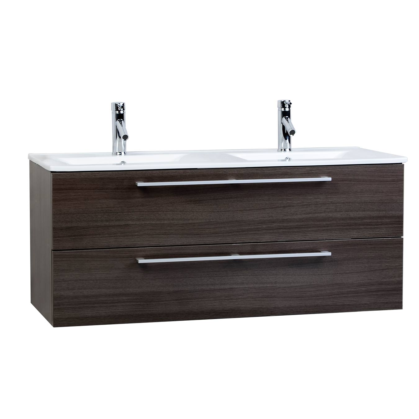 Buy caen 48 in wall mount double bathroom vanity grey oak for Bathroom 48 inch vanity