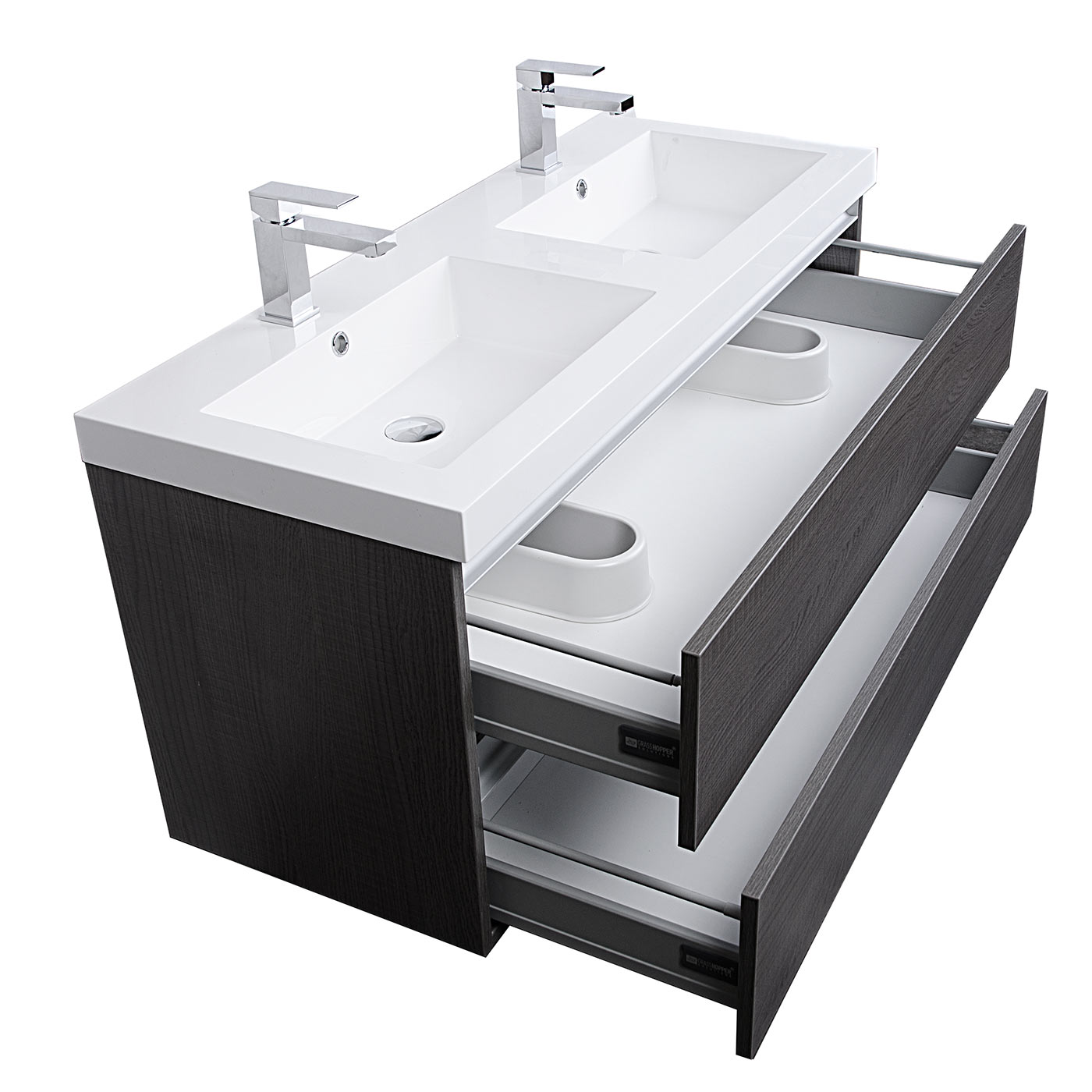 double bathroom vanity set. Valencia 47  Wall Mount Double Bathroom Vanity Set Grey Oak Optional Mirror RS DG1200 GO Buy Inch