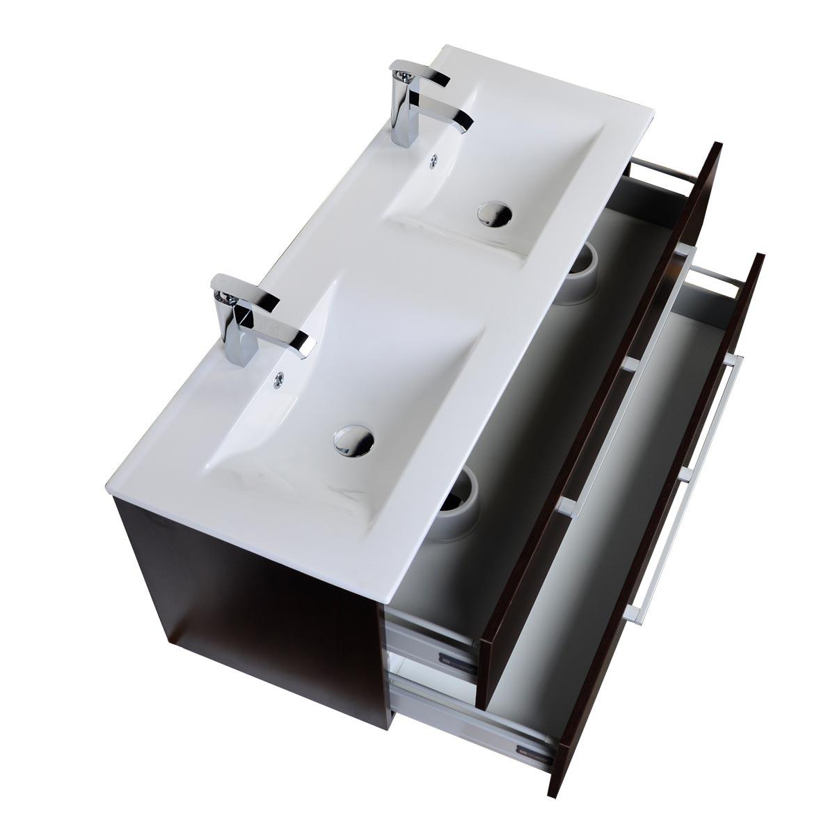 Buy caen 48 inch wall mount double bathroom vanity set - Wall mount bathroom vanity cabinets ...