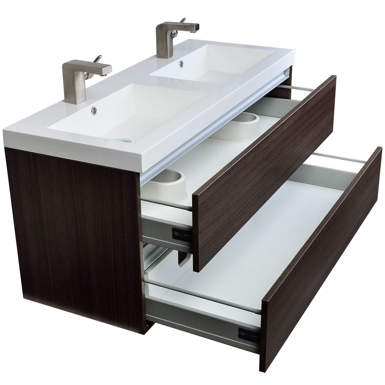 Buy valencia 47 in wall mount double bathroom vanity set - Wall mount bathroom vanity cabinets ...