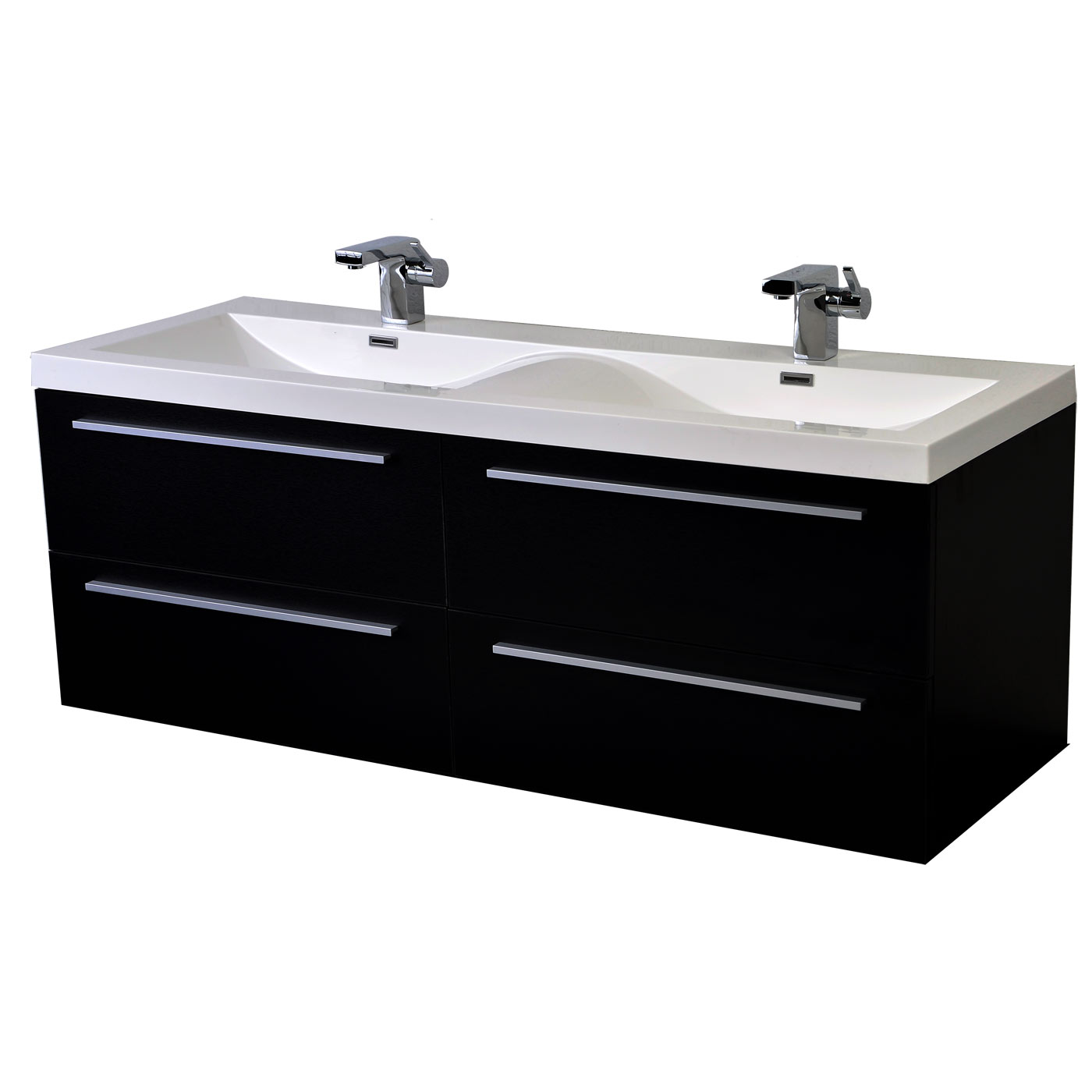 57 Inch Modern Double Sink Vanity Set With Wavy Sinks Black Tn B1440 Bk