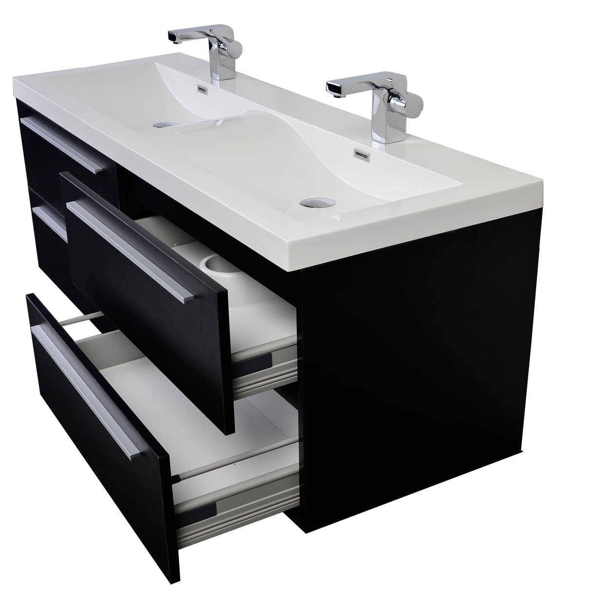 57 inch modern double sink vanity set with wavy sinks black tn b1440 bk - Modern bathroom vanity double sink ...