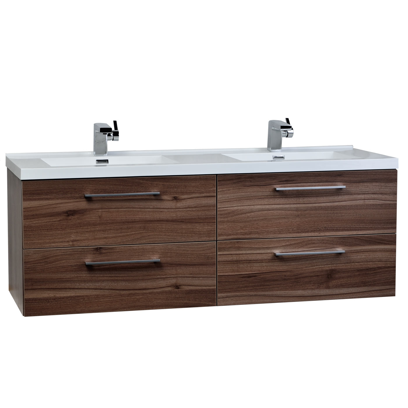 Camino 59 5 inch modern double vanity set wall mount walnut tn a1510 wn - Kona modern bathroom vanity set ...