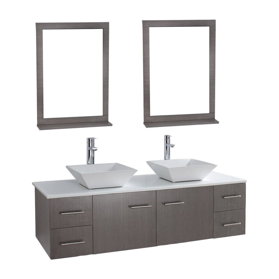 Siena solid wood 71 wall mounted double bathroom vanity for Mirror vanity