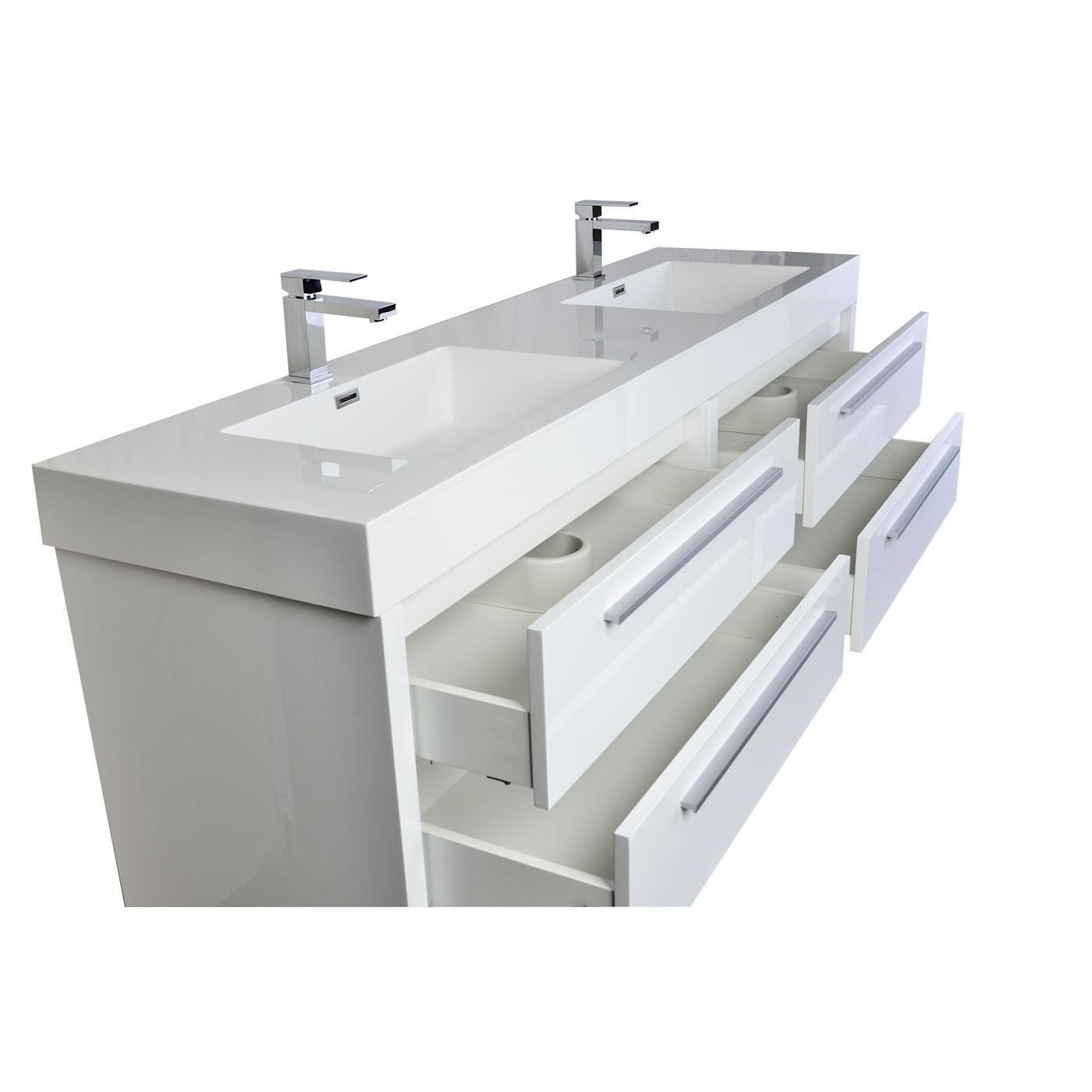 Contemporary double bathroom vanities - Mula 71 Contemporary Double Vanity Set White Rs La1810 Hgw