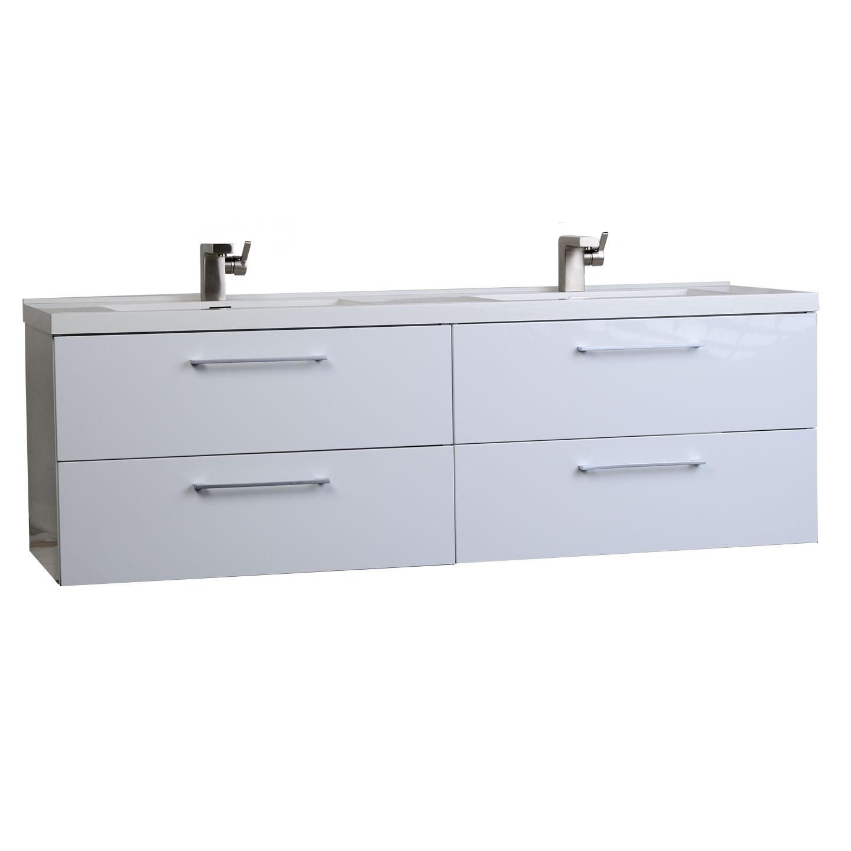 Camino 59 5 modern double vanity set wall mount high for White double bathroom vanities