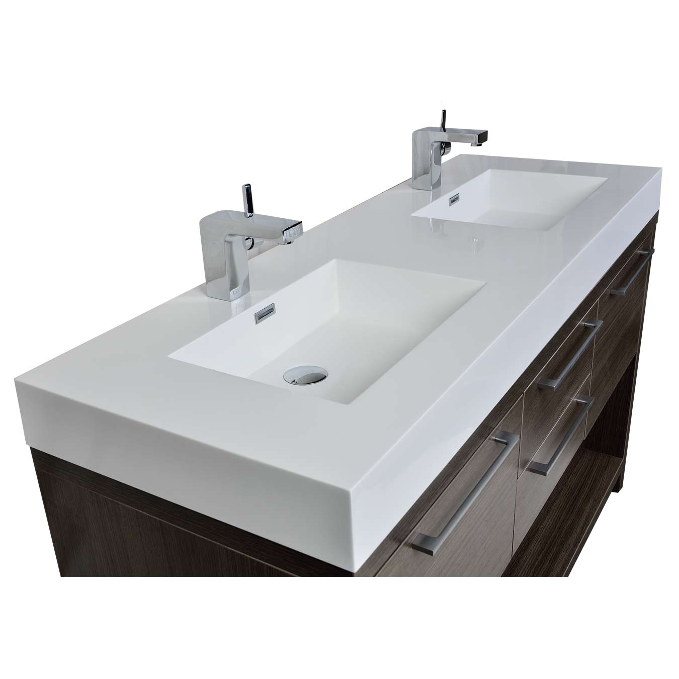 Buy lodi 57 inch contemporary double sink vanity in grey - Contemporary double sink bathroom vanity ...