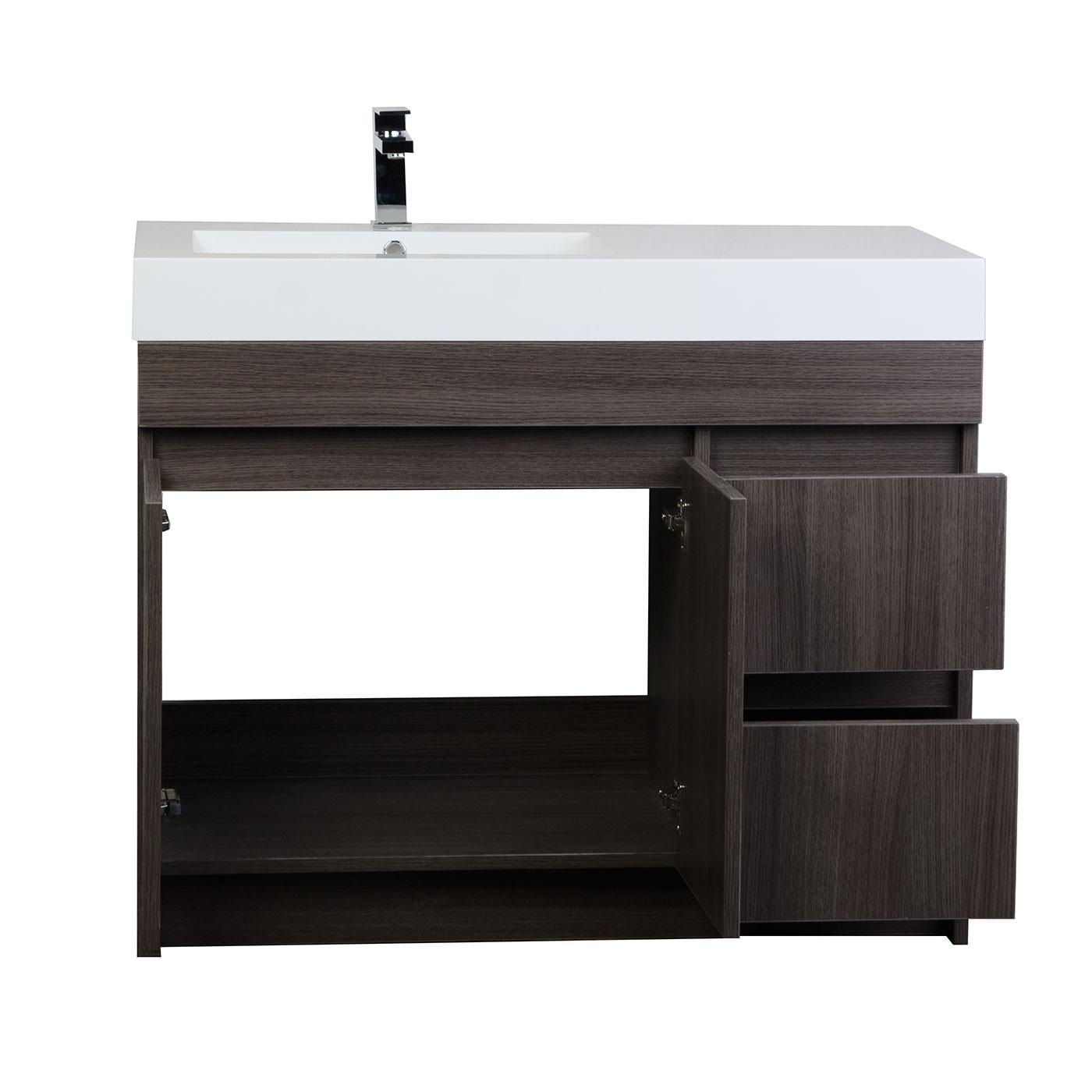 39 5 in modern bathroom vanity grey oak finish rs l1000 for Oak bathroom vanity