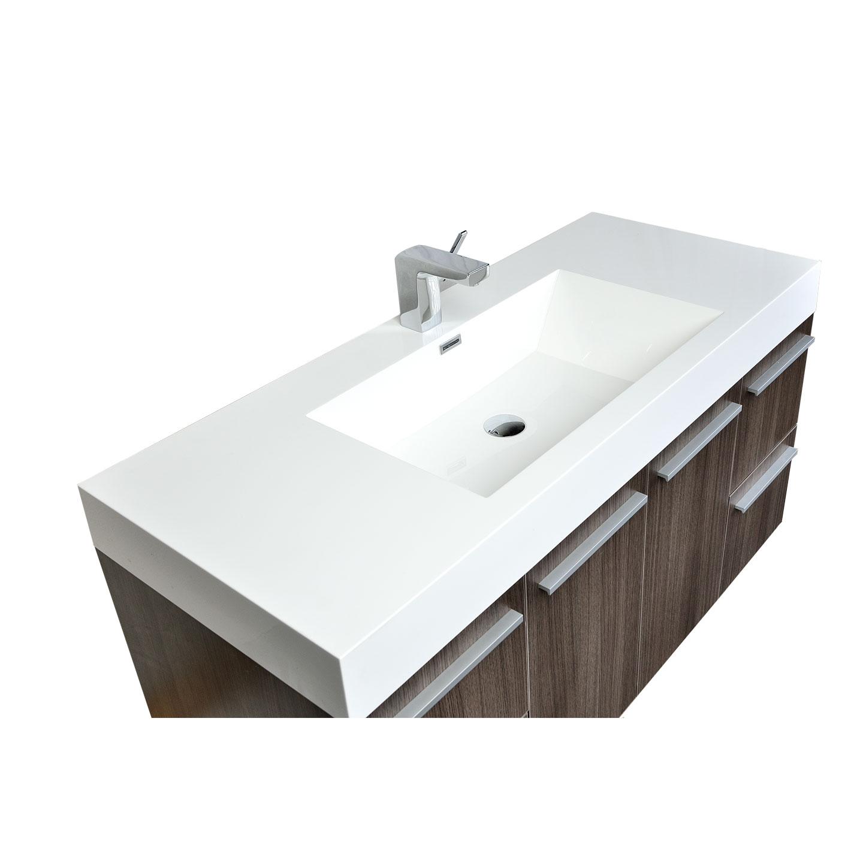 47 Inch Wall Mount Contemporary Bathroom Vanity Grey Oak