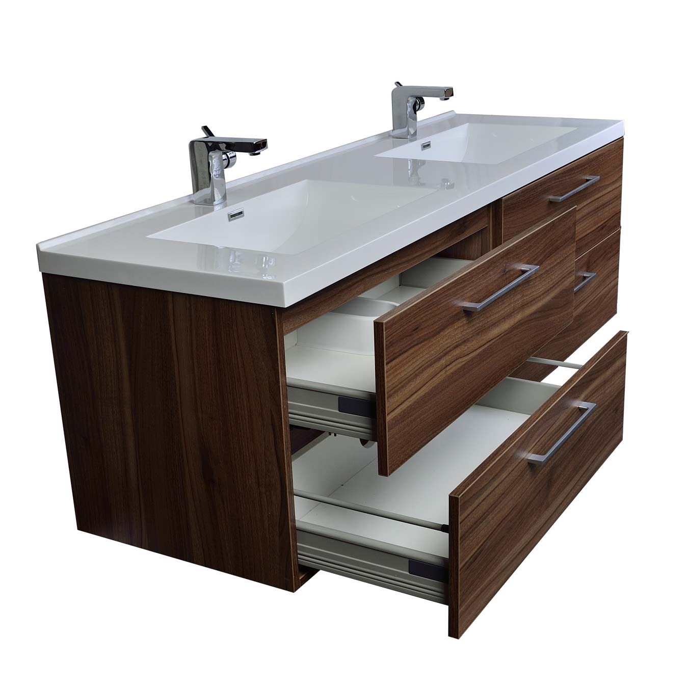 Camino 67 in modern double vanity set wall mount in walnut for Bath and vanity set