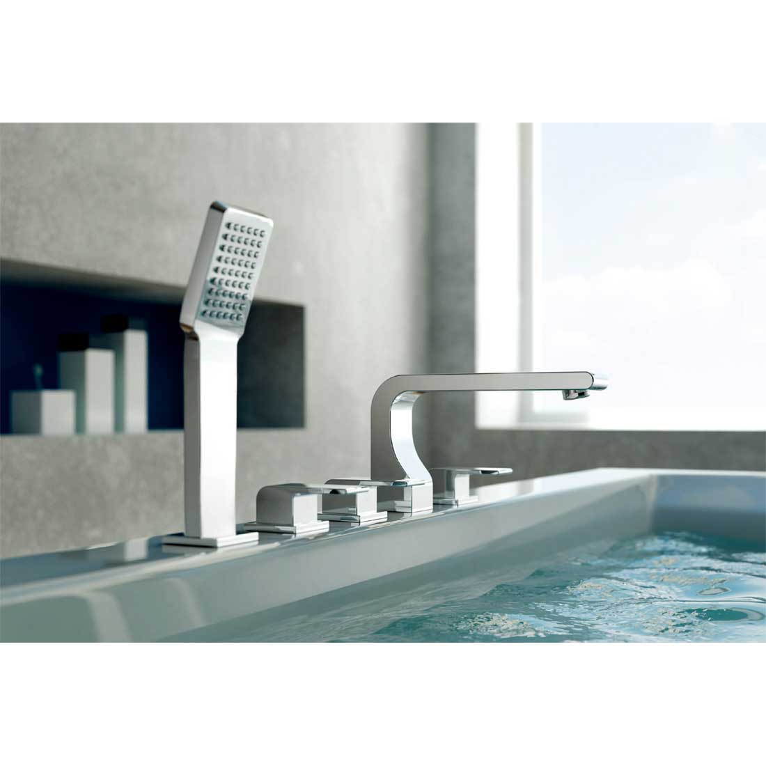 CBI Oceanus Chrome Deck Mount 5 Hole Roman Tub Shower Faucet CL JDL 8852420