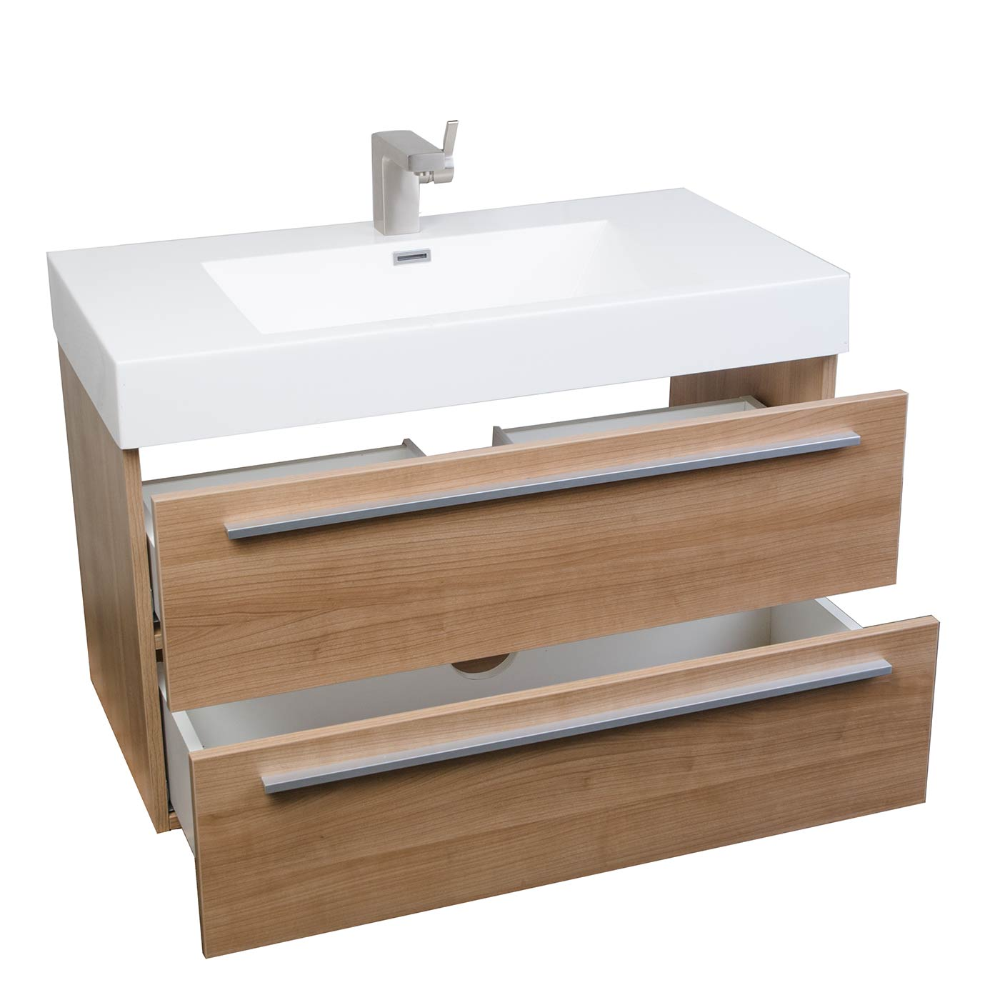 Buy 31.5 Inch Wall-Mount Contemporary Bathroom Vanity in Light Cherry TN-M800-LC on Conceptbaths.com