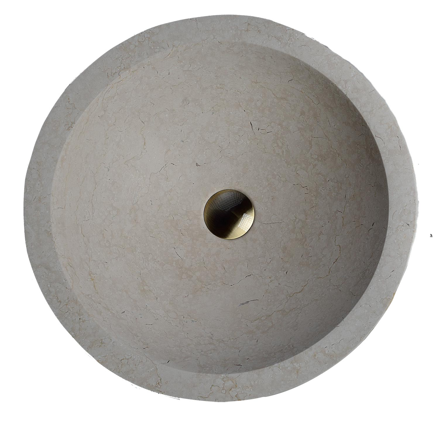 Marble Round Stone : Maude stone round vessel sink with rough exterior lm