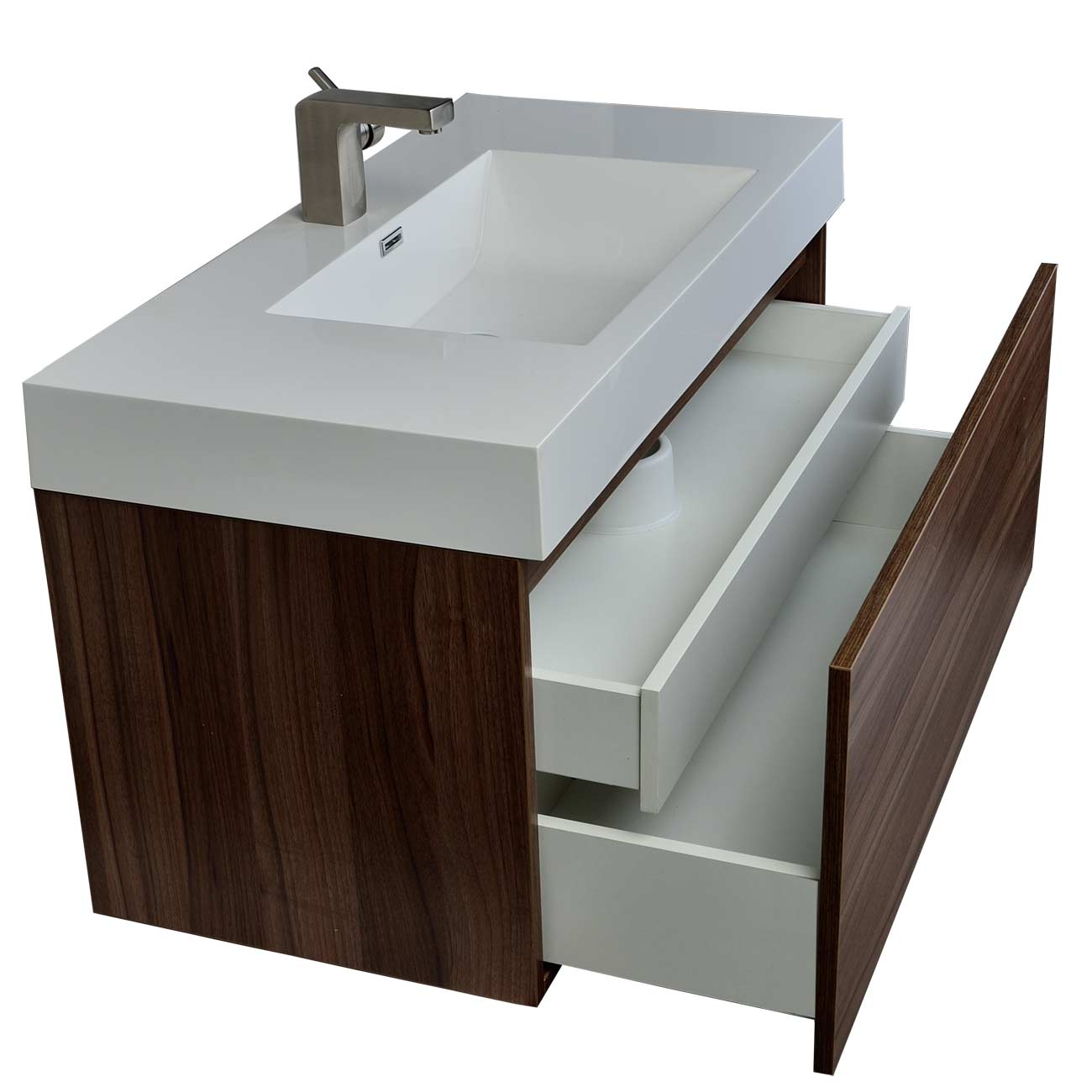 Modern bathroom vanity in walnut finish tn a1000 wn for Bathroom cabinets modern