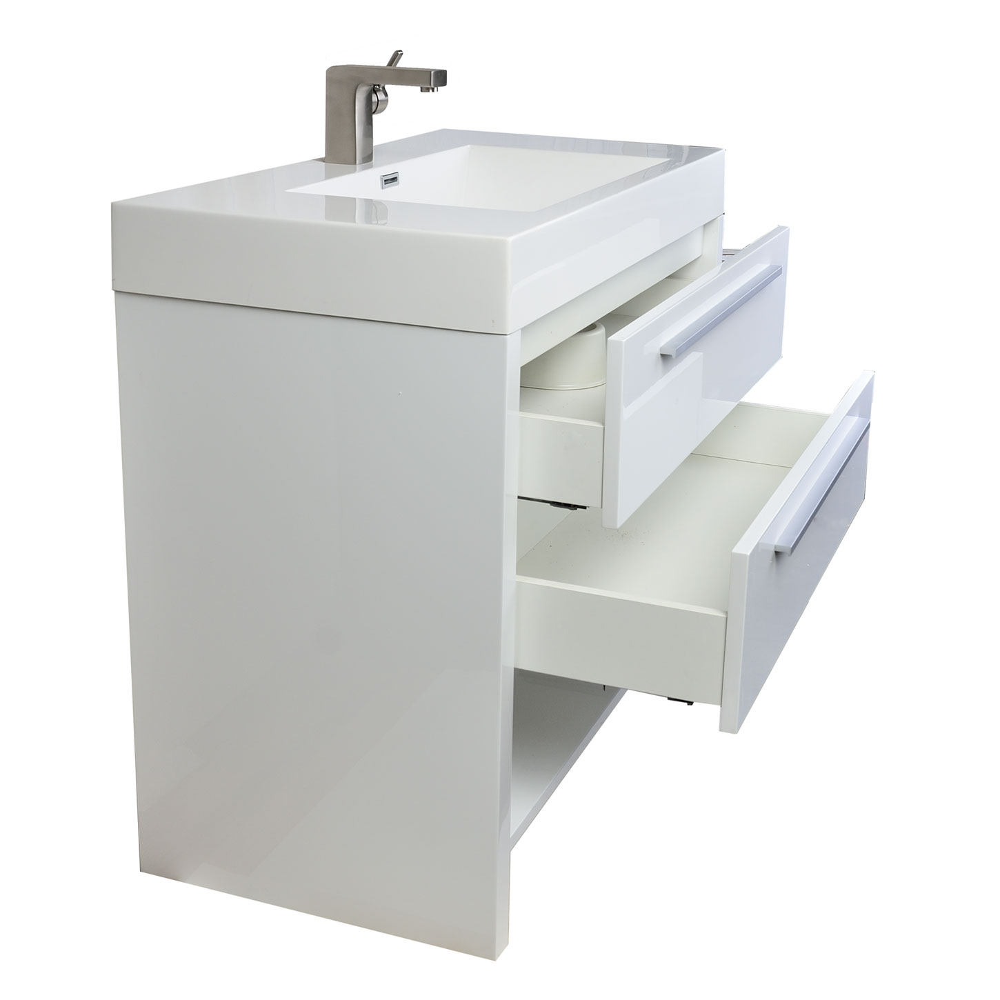 Buy mula 35 5 in modern bathroom vanity high gloss white for Modern contemporary bathroom vanities