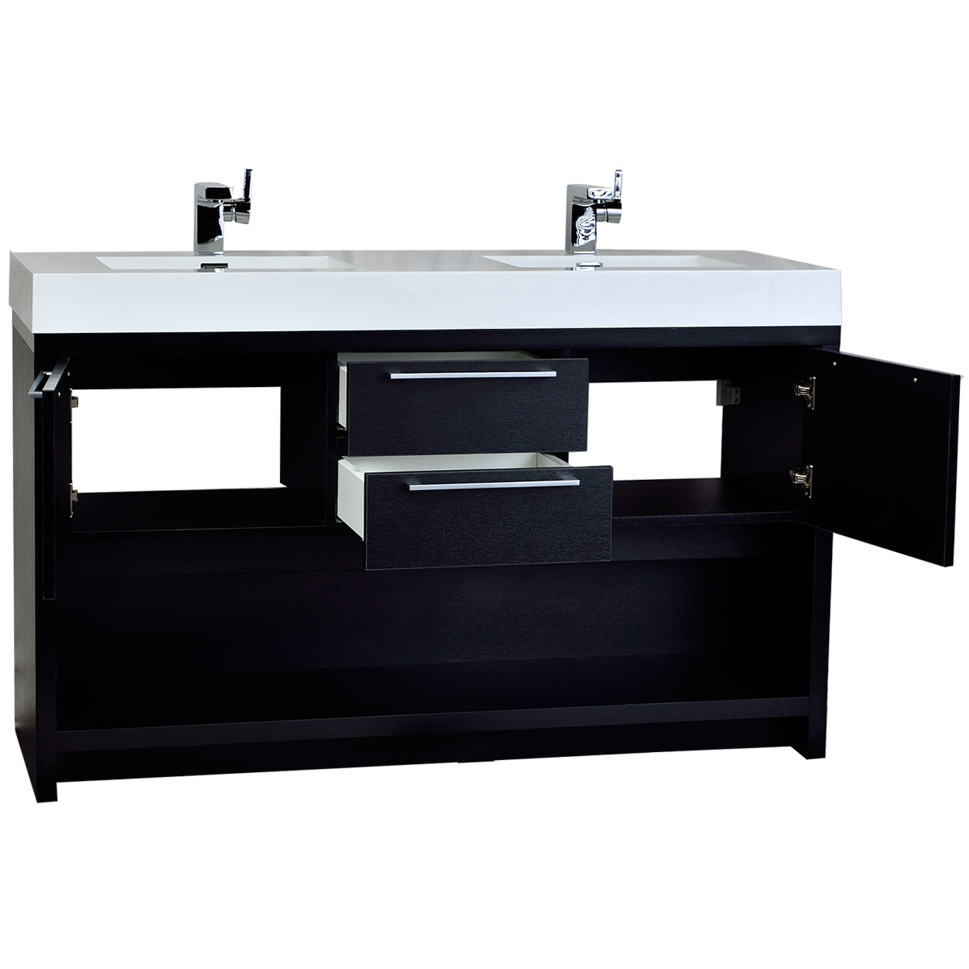 57 Contemporary Double Sink Vanity Set Black Tn Fa1440 Bk