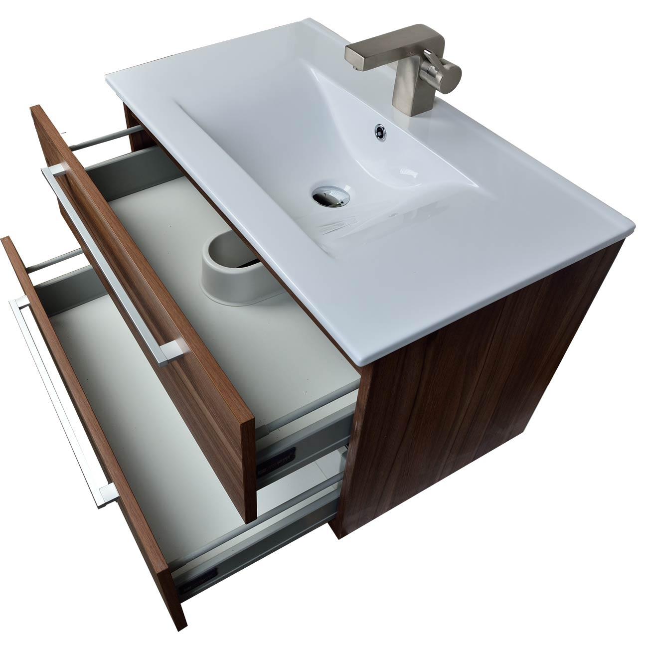 Buy 32 Inch Wall Mount Modern Bathroom Vanity Set Walnut