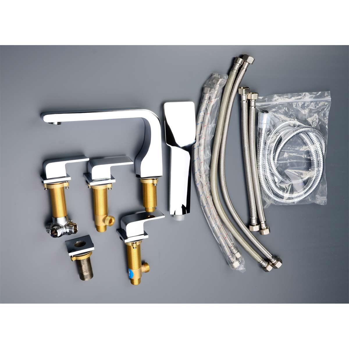 Buy CBI Oceanus Chrome Deck Mount 5 Hole Roman Tub Shower Faucet CL ...