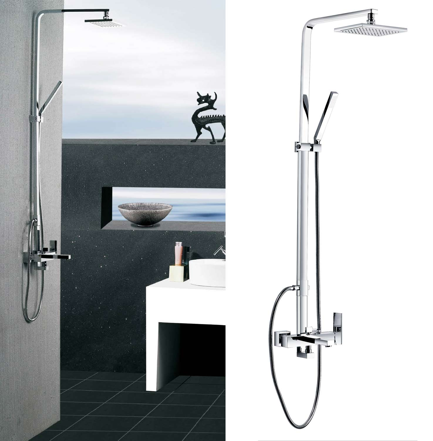 Buy Poseidon Brass Contemporary Tub And Shower Set With