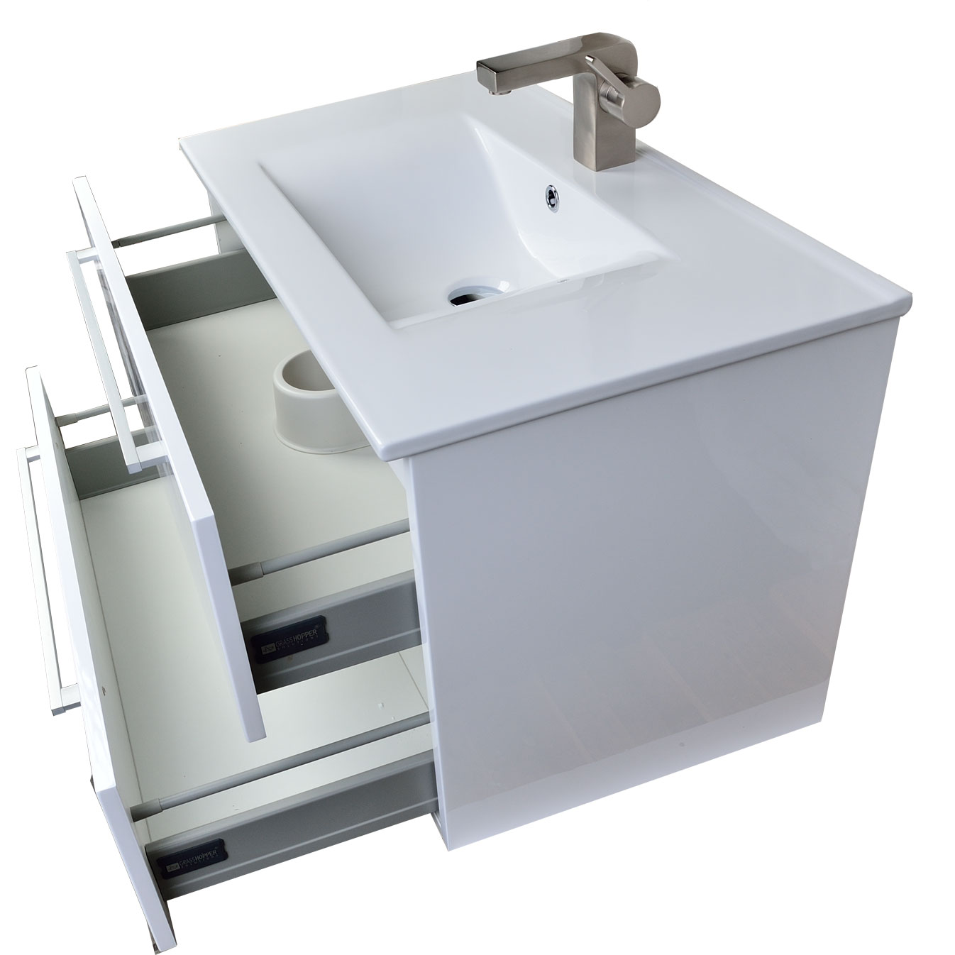 Buy caen 32 in wall mount modern bathroom vanity set high for Bathroom wall vanity cabinets