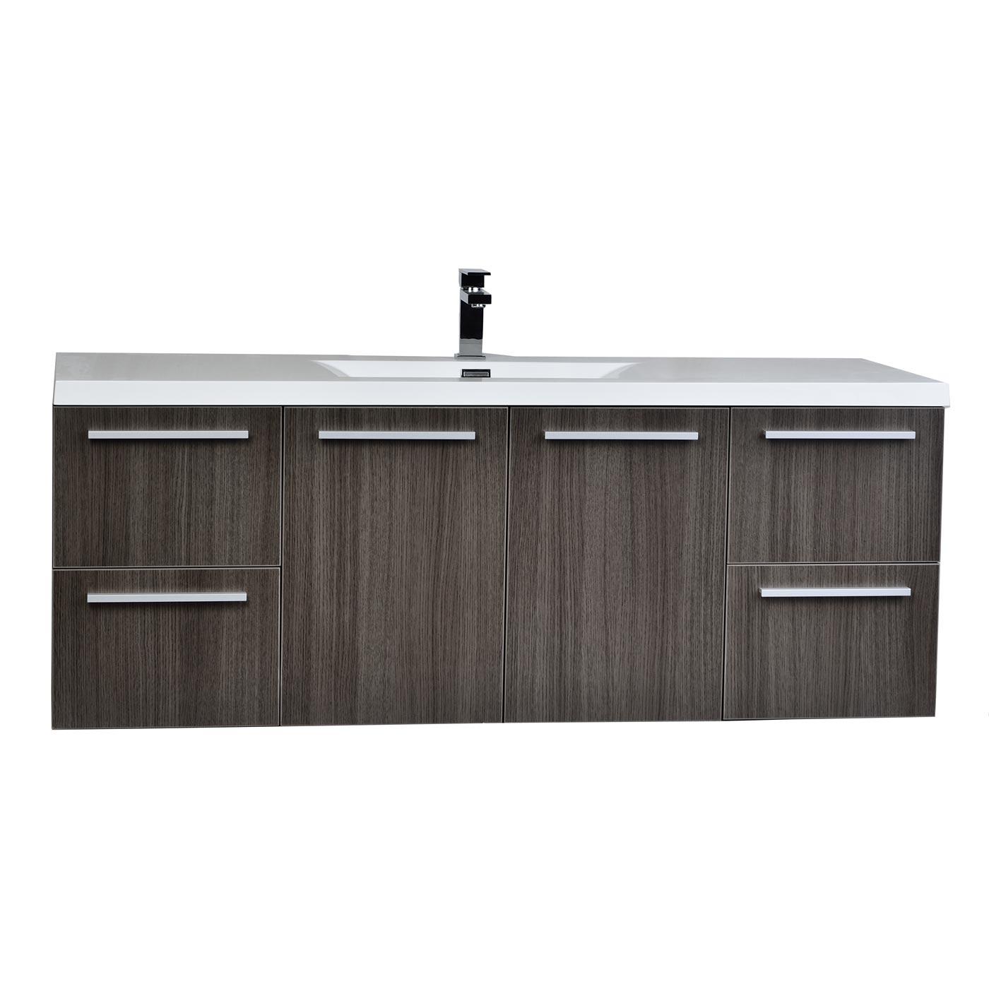 Wall Bathroom Vanity: 55 Inch Wall Mount Contemporary Bathroom Vanity Grey Oak