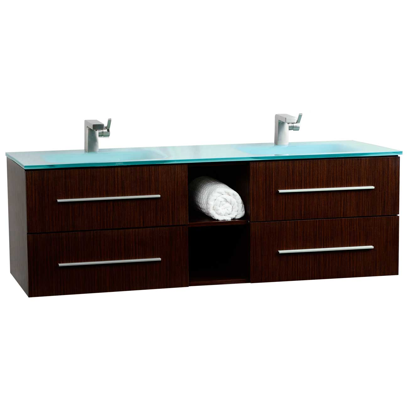Savona 60 wall mounted double bathroom vanity set vm for Bathroom wall vanity cabinets