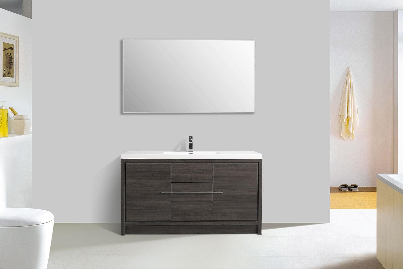 Cbi Enna 59 Inch Single Modern Bathroom Vanity In Grey Oak Tn La1500s Go
