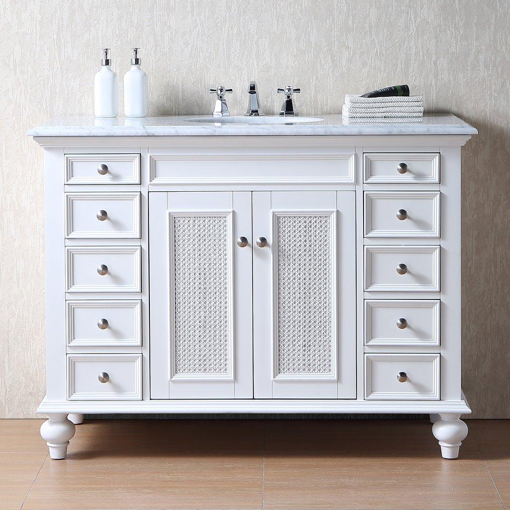 Bathroom Vanities Bathroom Vanities 36 59 Stufurhome 48 Inch Rory White Single Sink Vanity With Carrara Marble Top