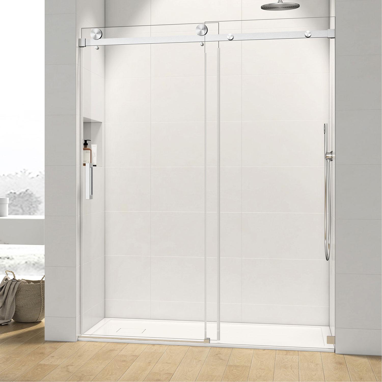 Crecent 3 8 Frameless Single Sliding Glass Shower Door Chrome 60 W X 76 H
