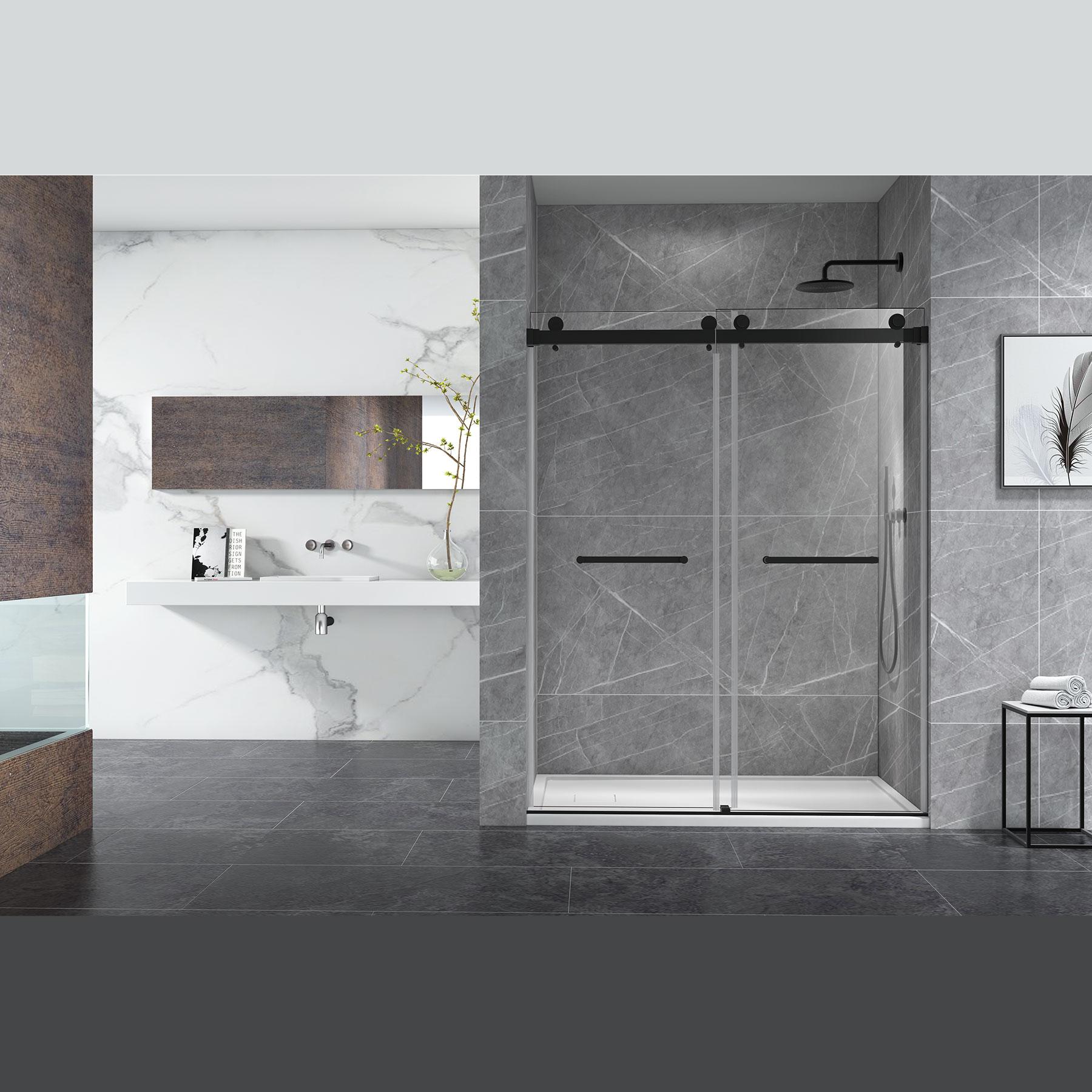 Skywalk 3 8 Double Sliding Frameless Shower Door In Matte Black 60 W X 76 H