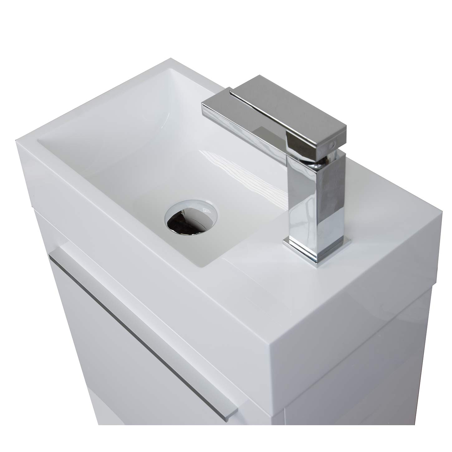 Buy 18 Inch Bathroom Vanity Set Glossy White TN T460 HGW
