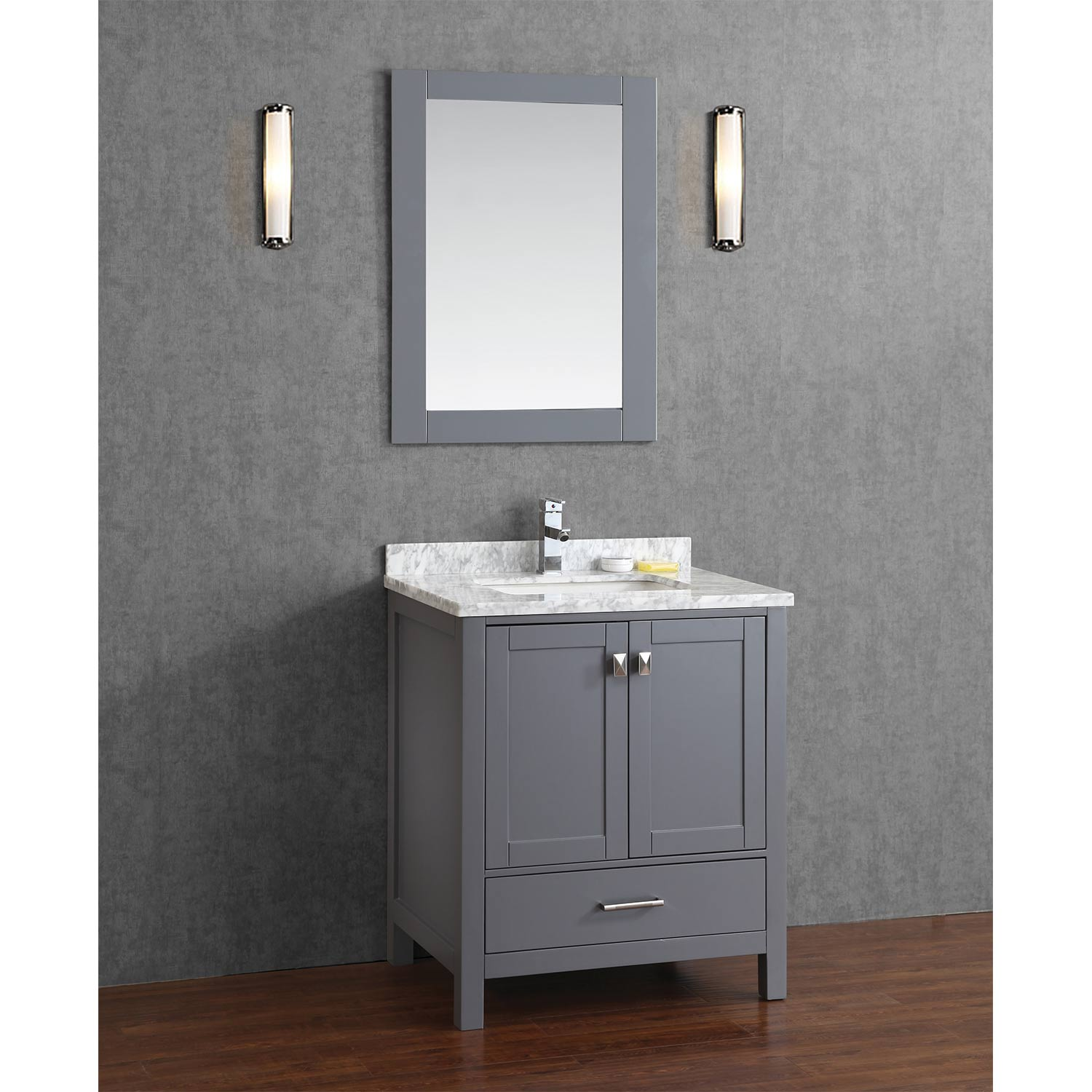 Buy vincent 30 inch solid wood double bathroom vanity in charcoal grey hm 13001 30 wmsq cg Solid wood bathroom vanities cabinets