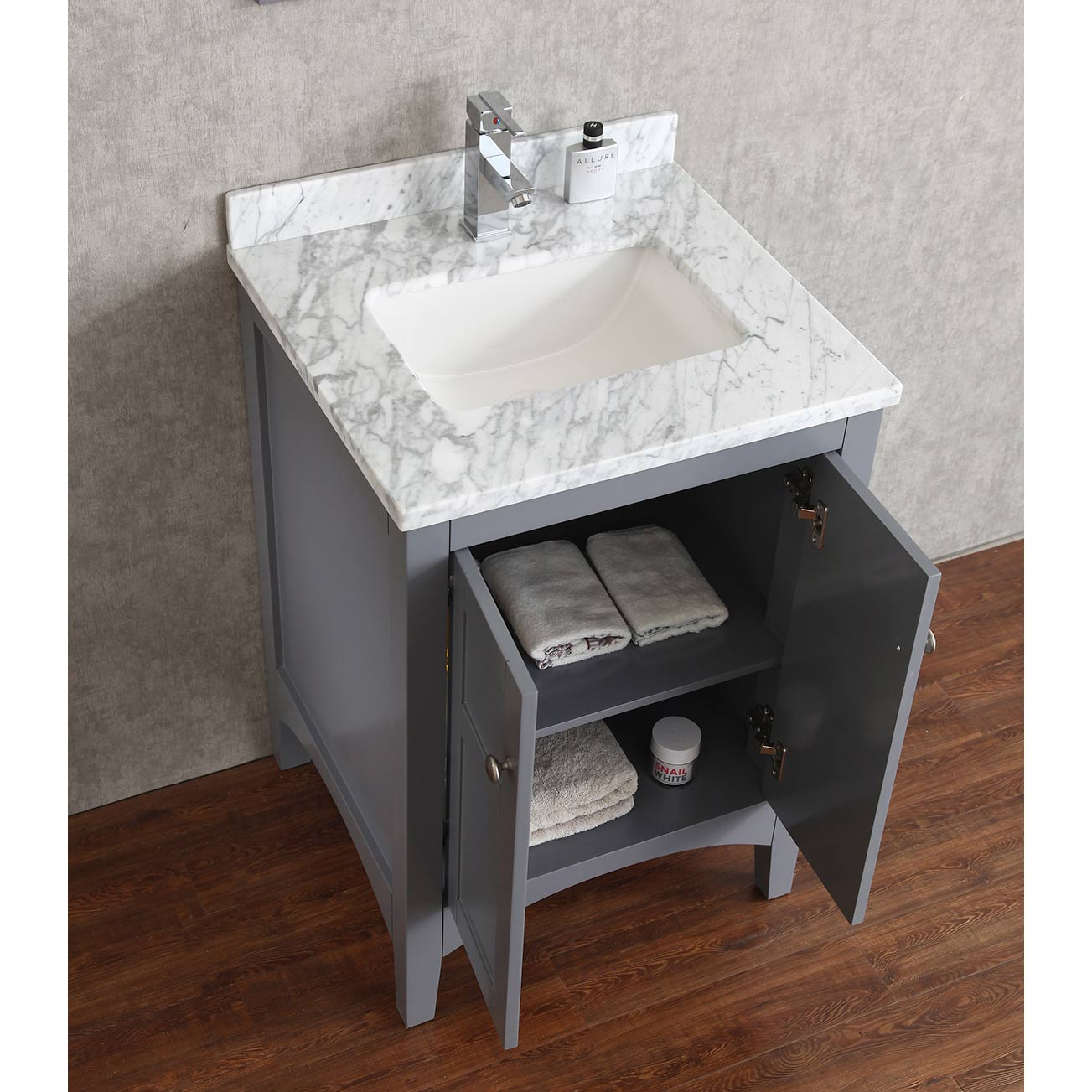 Buy martin 24 inch solid wood single bathroom vanity in charcoal grey hm 001 24 wmsq cg Solid wood bathroom vanities cabinets