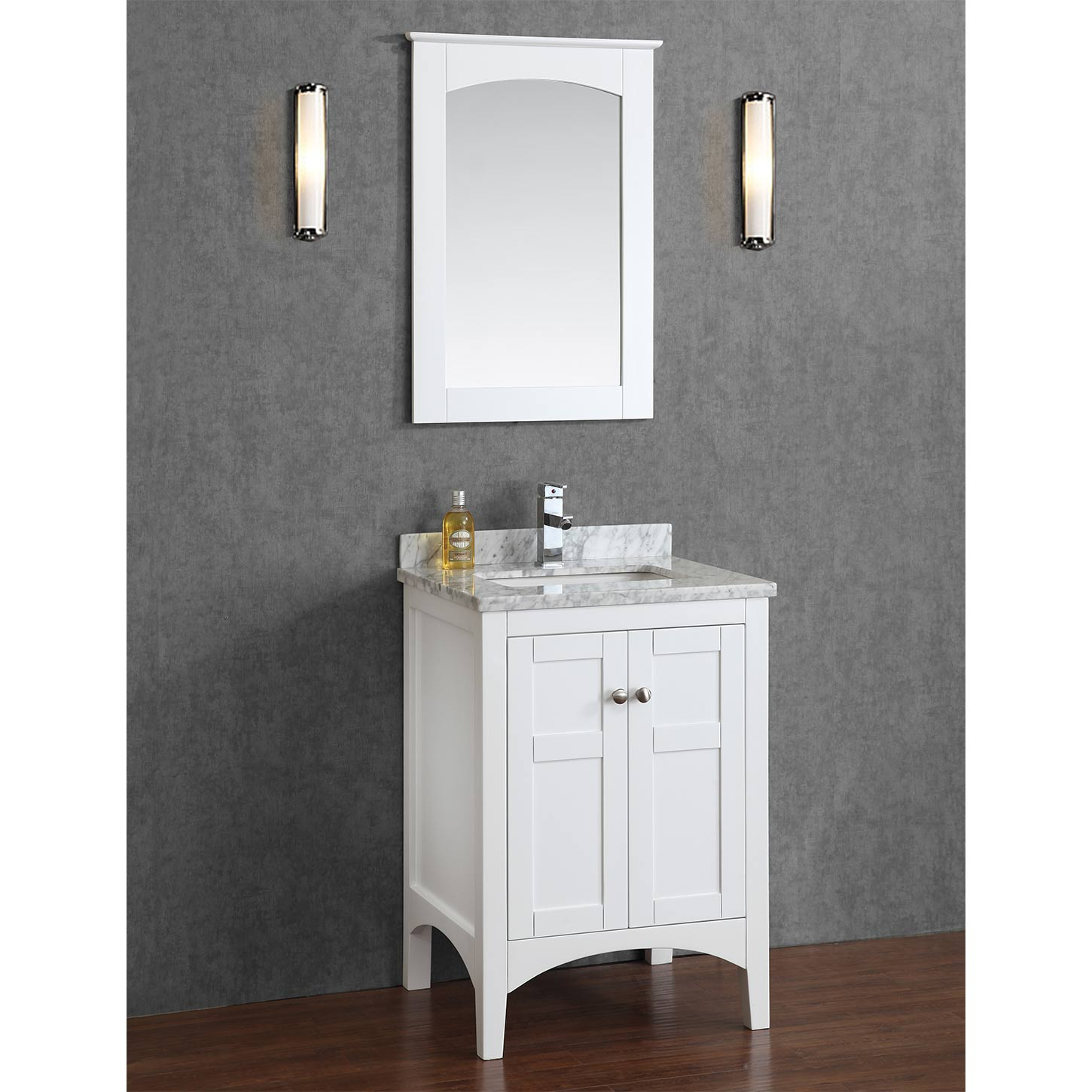 Buy Martin 24 Solid Wood Single Bathroom Vanity In White HM 001 24 WMSQ