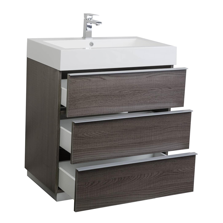 Buy single bathroom vanity set in oak optional for Bathroom cabinet 750