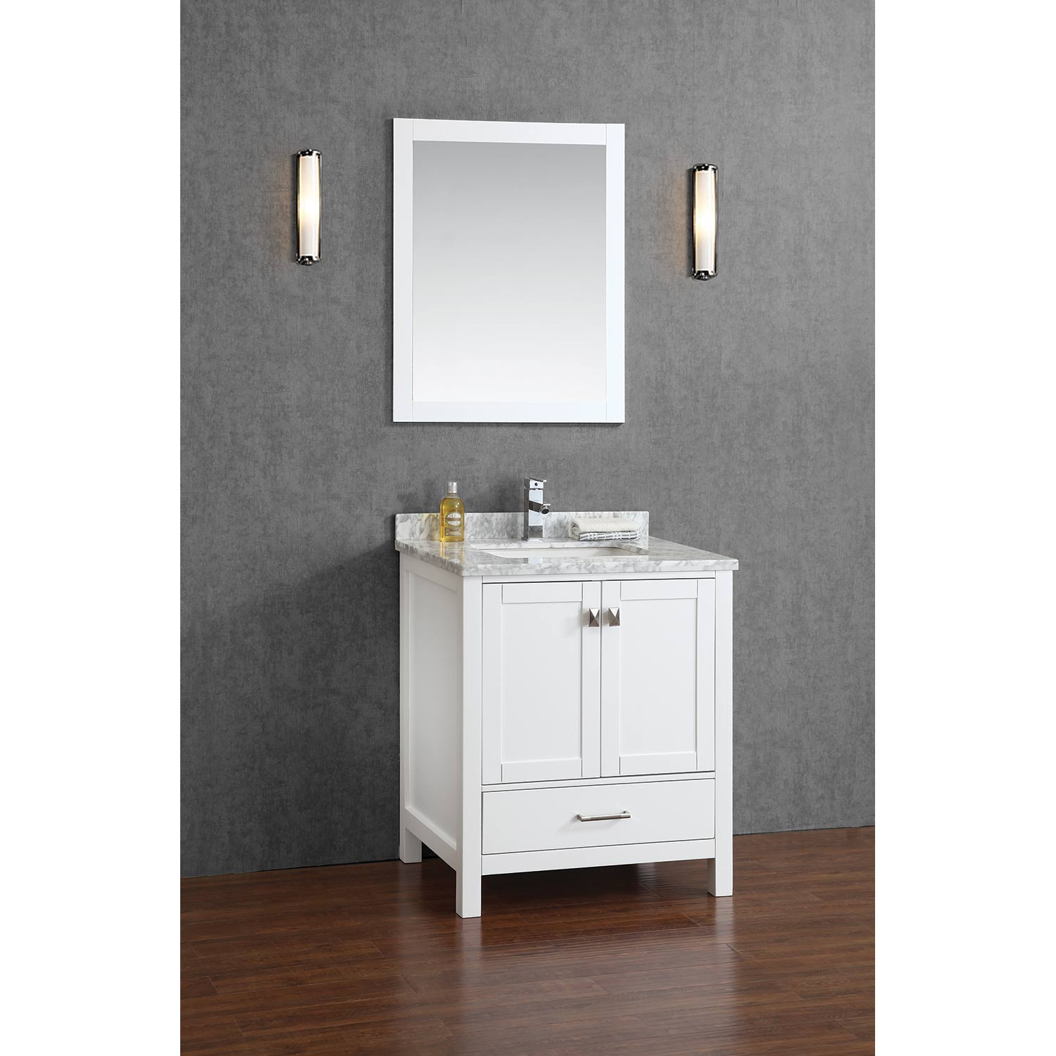Buy vincent 30 inch solid wood double bathroom vanity in white hm 13001 30 wmsq wt Solid wood bathroom vanities cabinets