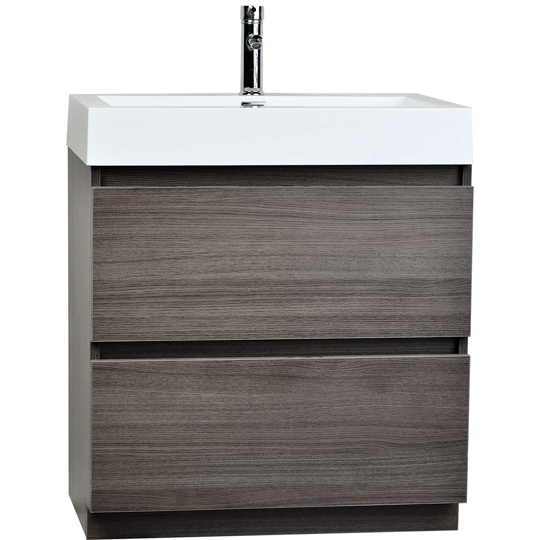 29 5 Inch Contemporary Bathroom Vanity Grey Oak Optional Mirror TN LY750 GO