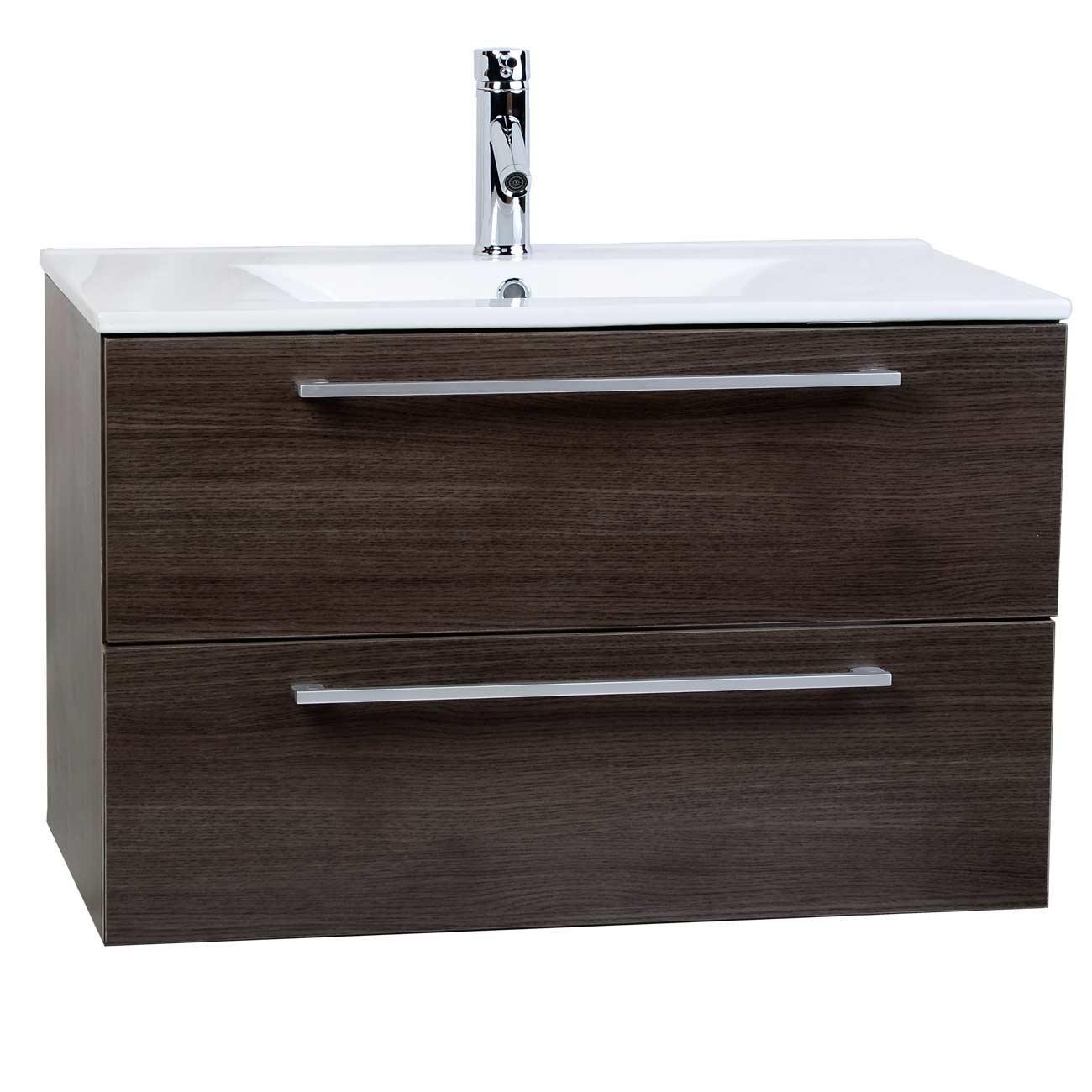 Buy Caen 32 Inch Wall Mount Modern Bathroom Vanity Set Alamo Oak Optional Mir