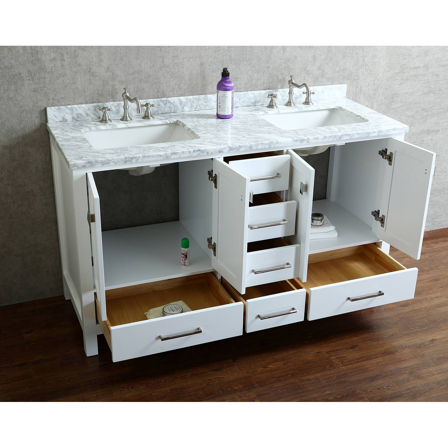 Vincent 60 Solid Wood Double Bathroom Vanity In White Hm 13001 Wmsq Wt