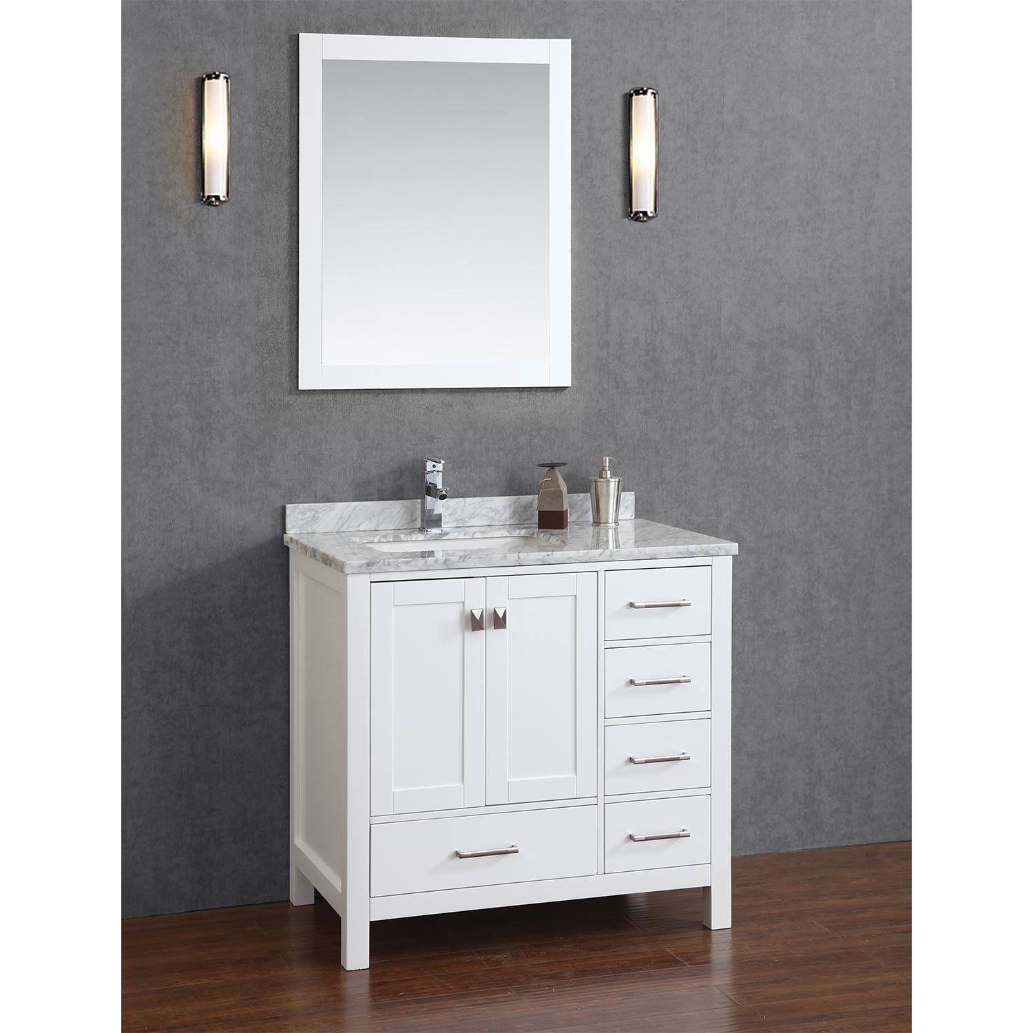 Buy vincent 36 inch solid wood single bathroom vanity in white hm 13001 36 wmsq wt Solid wood bathroom vanities cabinets