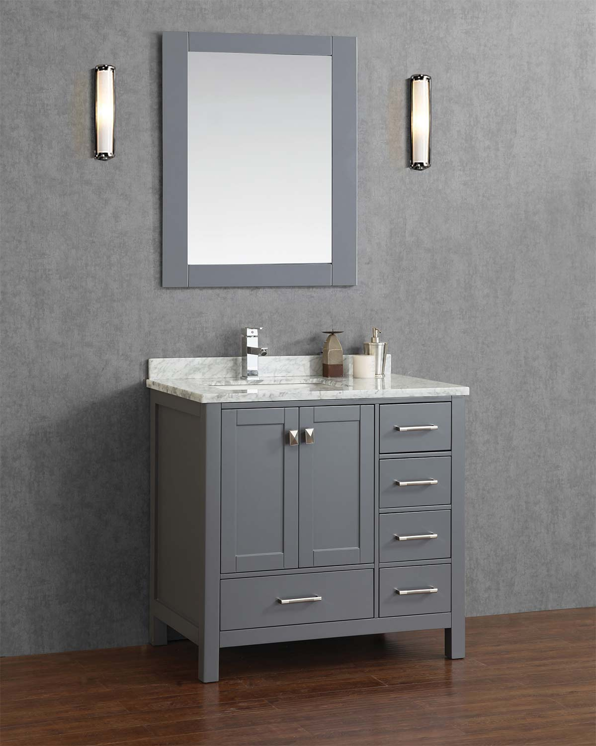 Buy vincent 36 inch solid wood single bathroom vanity in for Bathroom ideas grey vanity