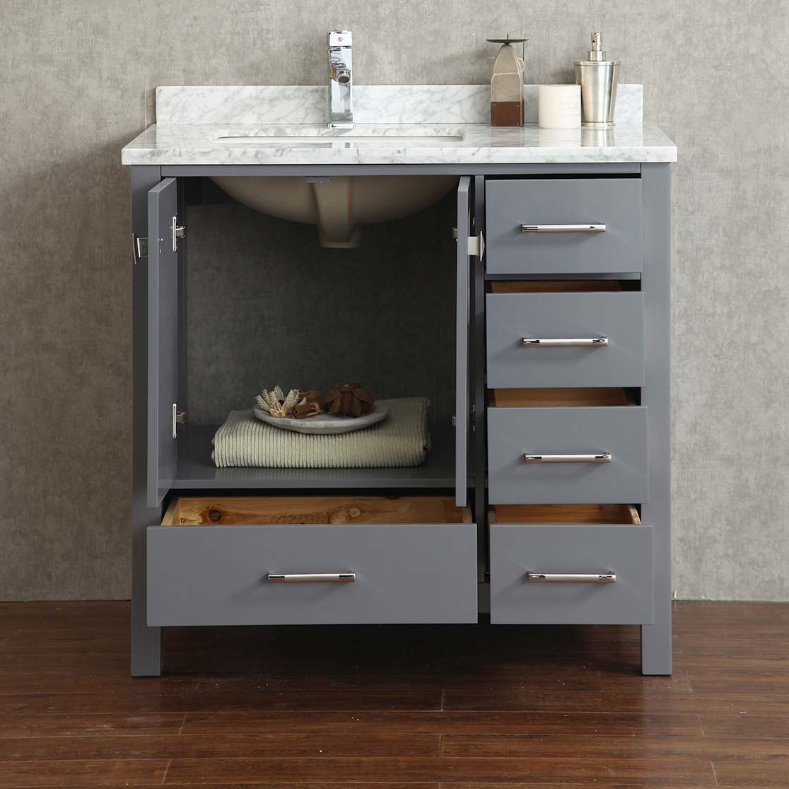 Buy Vincent 36 Inch Solid Wood Single Bathroom Vanity In Charcoal Grey Hm 13001 36 Wmsq Cg