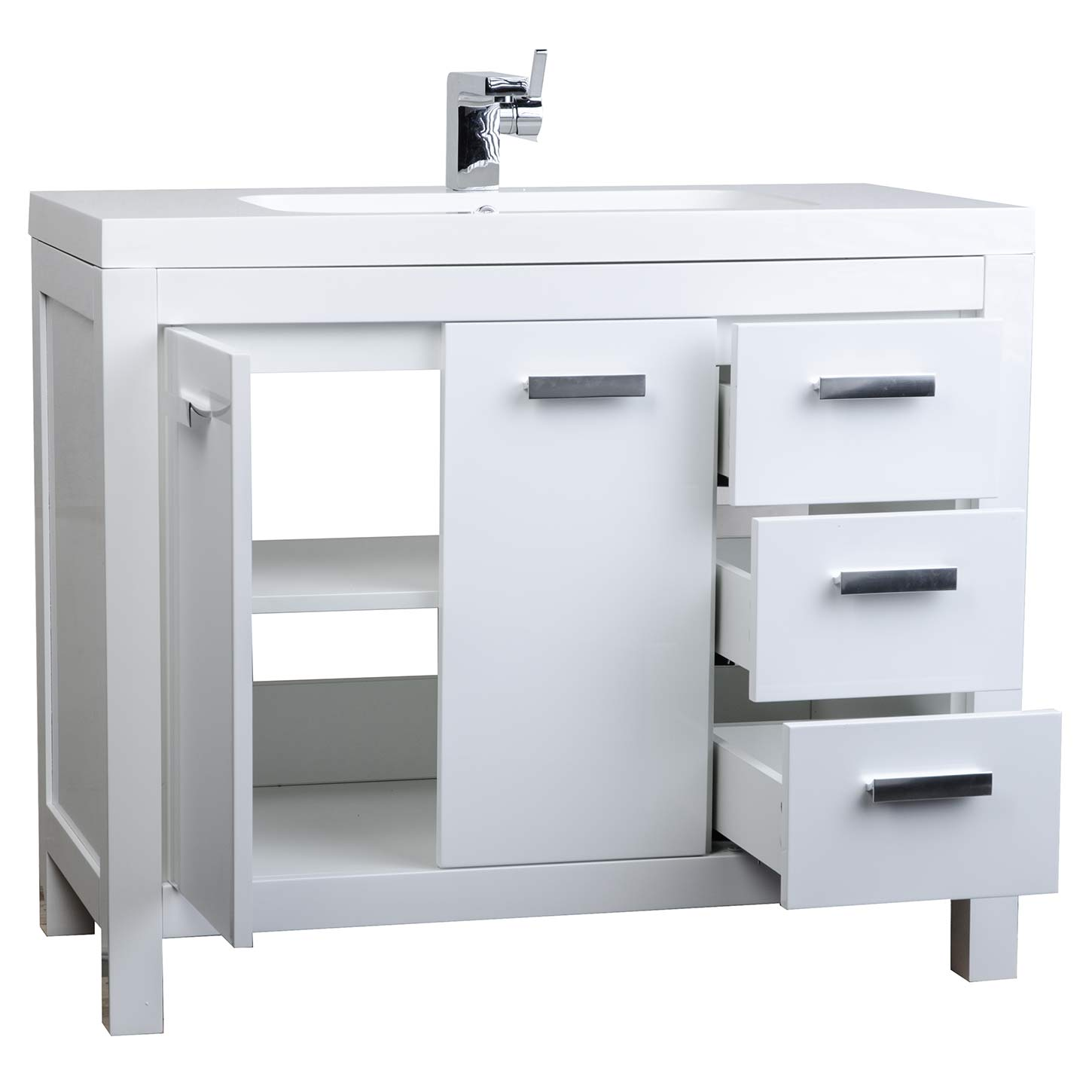 "39 5"" Modern Bathroom Vanity Glossy White Finish Optional Mirror RS L100"