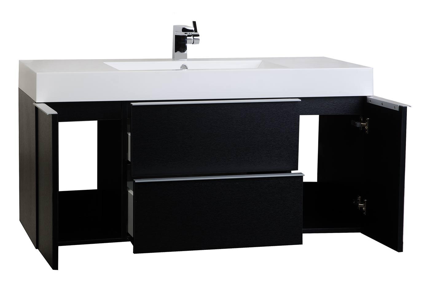Wall mount contemporary bathroom vanity black rs - Wall mount bathroom vanity cabinets ...